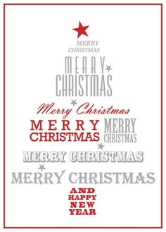 Corporate Holiday Card - Red and Silver Tree