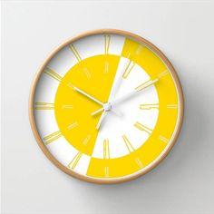 Yellow wall clock, wall clock with numbers, 10 inch clock, wall decor clock, nursery room decor, birthday gift