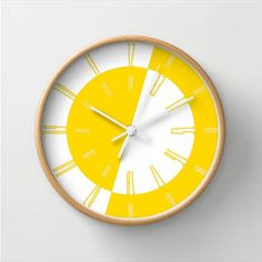 Happy wall clock white and yellow summer by LazyLittleLuckyGirl, $42.00