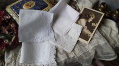 New to NostalgiqueBoutique on Etsy: 4 Elegant Lace Corner Cotton Hankies Handkerchief Wedding (6.00 GBP)