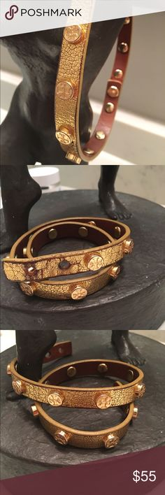 Authentic Tory burch adjustable bracelet Shows some signs of wear on hardware and clasp area.  Color is metallic gold. Material is leather. No trades Tory Burch Jewelry Bracelets