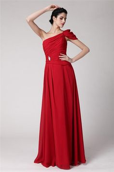 Fashion Sheath/Column Sleeveless Pleats One-Shoulder Long Chiffon Dresses YB216