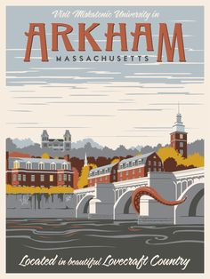 Wonderful Lovecraftian vintage travel posters by Steve Thomas