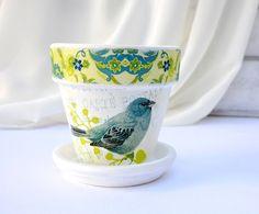 Blue Bird Flower Pot White Shabby Chic Planter Terra by YWart