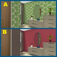 Which one would you choose? 3D Floor plan for entry way with mirror, credenza & chest of drawers, featuring Eco Wallpapers designed in RoomSketcher.  http://planner.roomsketcher.com/?ctxt=rs_com  #floorplan #entry #mirror #wallpaper #walls #RoomSketcher