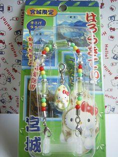 GOTOCHI HELLO KITTY Kawaii Mobile Cell Phone Charm Mascot Strap MIYAGI JAPAN NEW