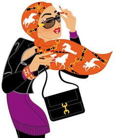 Hermes Scarf Woman for Swiss newspaper NZZ am Sonntag #Fashion #Illustration