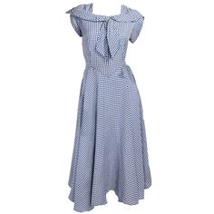 1940's Blue and White Check Dress