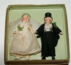 Vintage Bride Groom Dolls Wedding Cake Topper Miniature Bisque German with Box | eBay