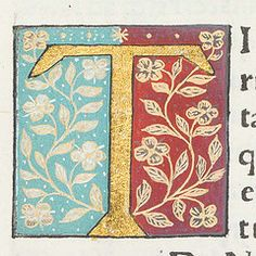 "Decorated initial ""T"" in Scriptores historiae Augustae."