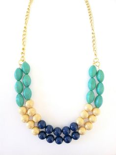 Turquoise gold & navy blue necklace by padgetthoke on Etsy