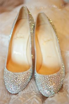 Sparkly Christian Louboutin Princess Wedding Shoes If someone got these for me, I would seriously love them forever!!