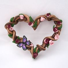 Polymer Clay Heart Wreath... very pretty and it's really easy!