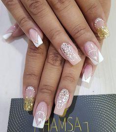 Bridal Nail Art, Manicure, Beauty, Short Nail Manicure, Nail Art, Sweetie Belle, Make Up, Nail Bar, Nails