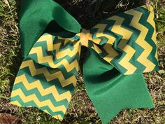 Hunter Green and Yellow Gold Tic Toc Cheer Bow by LivinTheBowLife on Etsy