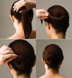 Chongo rápido y lindo. Encuentra más ideas de peinados sencillos en...http://www.1001consejos.com/peinados-en-5-minutos/