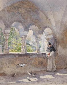 Hugo Darnaut  A monk in the cloister of Stift Millstatt, Austria. 1891. (1851-1937 /Austrian painter)