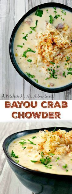 Bayou Crab Chowder is bowl of Cajun flavored deliciousness. There's hearty potatoes, sweet corn, smoky sausage, kicked up Cajun spices, and finally succulent crab in this seafood Cajun party in a bowl. Bayou Crab Chowder Musings of a Museum Fanatic Cajun Recipes, Seafood Recipes, Cooking Recipes, Cajun Cooking, Cajun Food, Canned Crab Recipes, Haitian Recipes, Louisiana Recipes, Creole Recipes