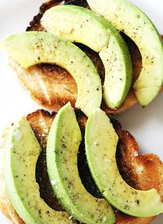 so simple...but so good. salt and pepper avacado on toasted bread.