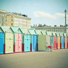 Hove beach huts: The beach huts are located on Hove promenade and built from wood. The council owns the site and owners of the huts have to purchase an annual licence. There are restrictions on what colours they can be painted as set by the council.