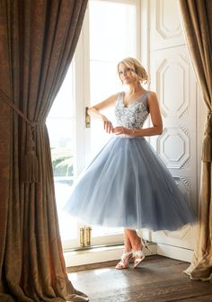 Sizes – Most models available in over 10 colours, please contact your local stockist. Dress in Ivory lace/desert Blue Swiss Tulle Fabric Lace/ Tea Length Formal Dresses, Tea Length Cocktail Dresses, Tea Length Bridesmaid Dresses, Wedding Bridesmaids, Prom Dresses, Wedding Dresses, Tulle Fabric, Fancy Dress, Nice Dresses