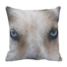 Blue eyes husky dog photo throw pillow
