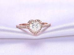 1ct Heart Shaped Moissanite Engagement ring,Moissanite ring,14k Rose gold,diamond Wedding Band,Bridal Ring/Promise Ring/Propose ring