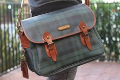 d1b149add632 Rare Vintage Polo Ralph Lauren Blackwatch Plaid Leather Messenger Shoulder  Bag in Bags   Backpacks