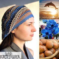 Купить Берет королевский синий и ореховый - комбинированный, экрю, молочный, бохо стиль, летний берет