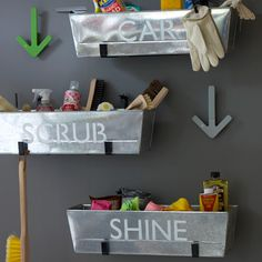 Metal planters for garage storage or for the laundry room. Great idea!!  Could even use fabric planters as well for all different small storage needs.