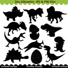 Dino Silhouettes Digital Clipart Set Personal and by Tutytriana