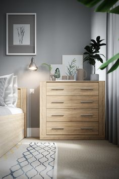 Idea on behance starter home, konmari, dresser as nightstand, home reno, be Small Room Bedroom, Bedroom Colors, Wood Bedroom, Home Decor Bedroom, Double Bedroom, Bedroom Bed, Black White And Grey Bedroom, Console Table Living Room, Marble House