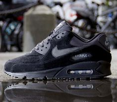 http://shoesonline24.co.uk #Nike Air Max 90 Essential – Black / Black – Dark / Charcoal – Cool Grey