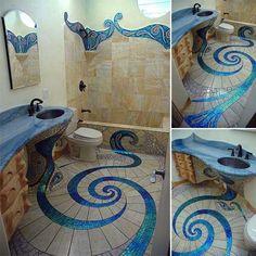 Mosaic Bathroom Floor: 32 Amazing Floor Design ideas for Homes Indoor and Outdoor