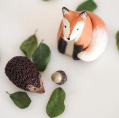 Fx and hedgehog figurines