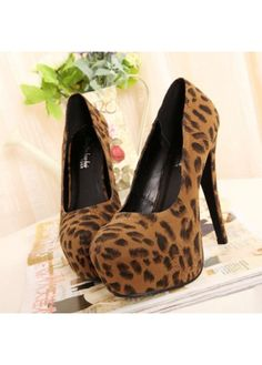 93882670a5e620 Unusual Plus Size Leopard Print Brown Suede Platform High Heels with cheap  wholesale price
