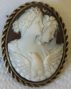 Antique Carved Sardonyx Shell Cameo Day and Night Eos Nyx Eagle Brooch Pendant