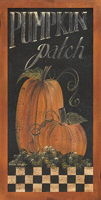 *HALLOWEEN ~ Pumpkin Patch Primitive Country Framed Picture Print