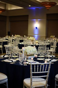 Blue and white wedding reception...