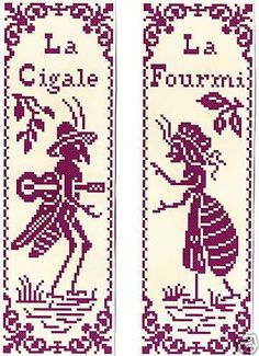 Grille-pt-de-croix-2-MARQUE-PAGE-La-CIGALE-la-FOURMI