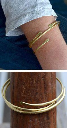 Brass Cuff Bracelet - Set of 2 #jewelry #bracelet