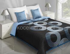 Niebieskie koła narzuta dwustronna na łóżko w kolorze czarnym