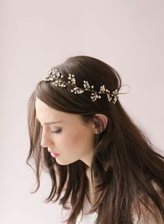 Dainty beaded fern leaf hair vine - Style # 417 (2014, best sellers, hair adornments, hair vine, hair vines, headbands, headpieces, made to ...