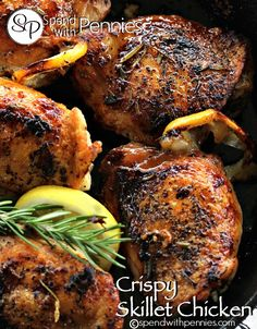 Crispy Skillet Chicken Love it?  Pin it to your DINNER board to SAVE it! Follow Spend With Pennies on Pinterest for more great recipes! Chicken is probably one of my favorite dishes of all time.  The possibilities are endless! This chicken is surprisingly easy yet looks very impressive!  Bone-in chicken thighs crisp up beautifully while …