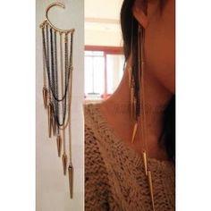 Punk Rock Gold Black Long Tassels Chain Rivet Ear Cuff Earrings New Comming Ear Cuffs, Cuff Earrings, Clip On Earrings, Earrings Online, Pierced Earrings, Stud Earring, Silver Earrings, Ear Jewelry, Jewelery