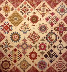 Antique Wedding Sampler by Di Ford - Yahoo Image Search Results Sampler Quilts, Scrappy Quilts, Antique Quilts, Vintage Quilts, Quilting Projects, Quilting Designs, Civil War Quilts, Medallion Quilt, Quilt Binding