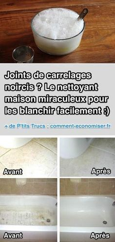 Mes joints de carrelage étaient sacrement tachés et noircis. Mais pas besoin de les refaire pour autant ! Heureusement, j'ai trouvé une nettoyant fait maison miraculeux pour qu'il retrouve leur blancheur. Découvrez l'astuce ici : http://www.comment-economiser.fr/nettoyant-maison-miraculeux-pour-blanchir-joints-carrelage.html?utm_content=buffer5b622&utm_medium=social&utm_source=pinterest.com&utm_campaign=buffer