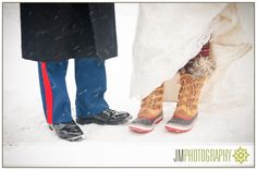 Winter Wedding Photography | New Hampshire | Inn at Pleasant Lake | Bride & Groom Snow Boots |