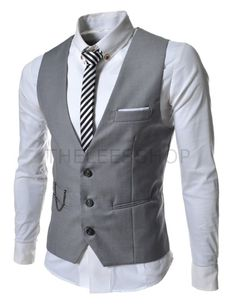 (SVE-GRAY) Mens slim Fit chain point 3 button vest GRAY- Groom Style