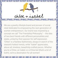 I would love to tell you more about Chloe+Isabel. Visit my boutique at www.chloeandisabel.com/boutique/kellymcmillan